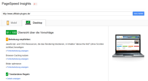 Pagespeed nach WP Rocket Installation