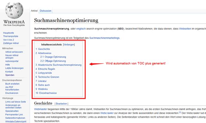 TOC Plus Inhaltsverzeichnis wie bei Wikipedia